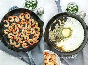 Dos imágenes que muestran los ingredientes salteados y cremosos de los camarones de ajo en una sartén.