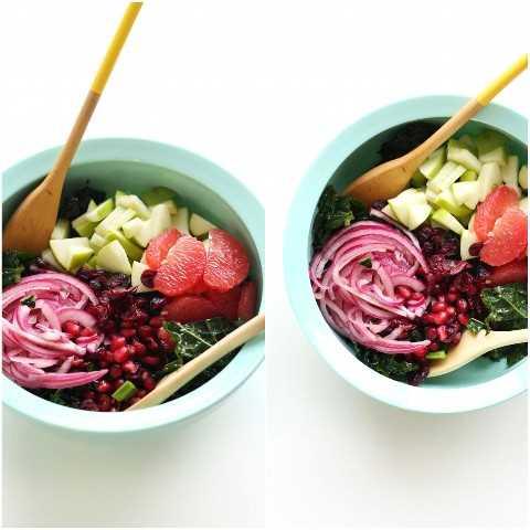 Tazón de mezcla de ingredientes para nuestra receta de ensalada de cítricos de col rizada de 30 minutos