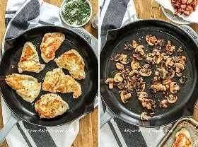 Dos imágenes que muestran pollo frito y papas fritas y tocino frito.