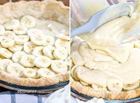 Dos imágenes que muestran el pastel de crema de plátano en capas.