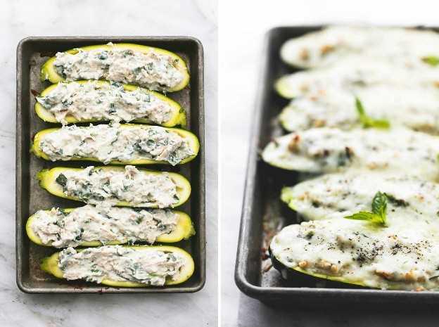 Lasaña de Pollo Blanco Relleno de Calabacín Embarcaciones receta fácil y saludable | lecremedelacrumb.com