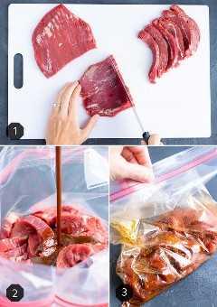 Tres imágenes que muestran el mejor tipo de filete para fajitas y cómo hacer un adobo de fajita de filete.