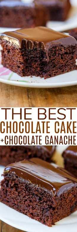 El mejor pastel de chocolate con glaseado de ganache: este es realmente el mejor pastel de chocolate que haya existido. Está cubierto con un glaseado suave y sedoso de ganache de chocolate, ¡y solo lleva 10 minutos de preparación práctica!