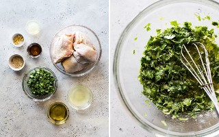 Ingredientes del adobo de pollo con lima y cilantro en una mesa azul claro