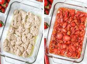 Dos imágenes que muestran los pasos para preparar el zapatero de ruibarbo de fresa.