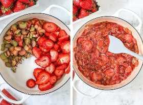 Dos imágenes que muestran los pasos para preparar la mezcla de ruibarbo de fresa endulzada con azúcar.