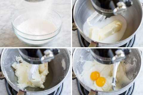 Mostrando los pasos de cómo hacer un pastel de cumpleaños en una batidora eléctrica. Incluyendo tamizar pastel, crema de mantequilla y agregar yemas de huevo.