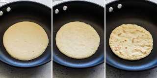 Paso a paso el proceso sobre cómo hacer paleo tortillas.