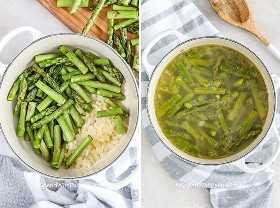 Dos imágenes que muestran espárragos y cebollas en una olla antes y después de agregar caldo de sopa.