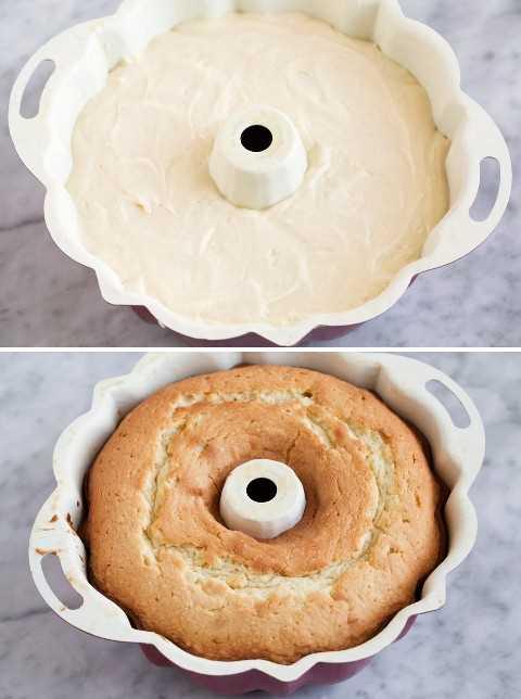 Bata a massa de bolo em uma panela antes e depois exibida após o cozimento.