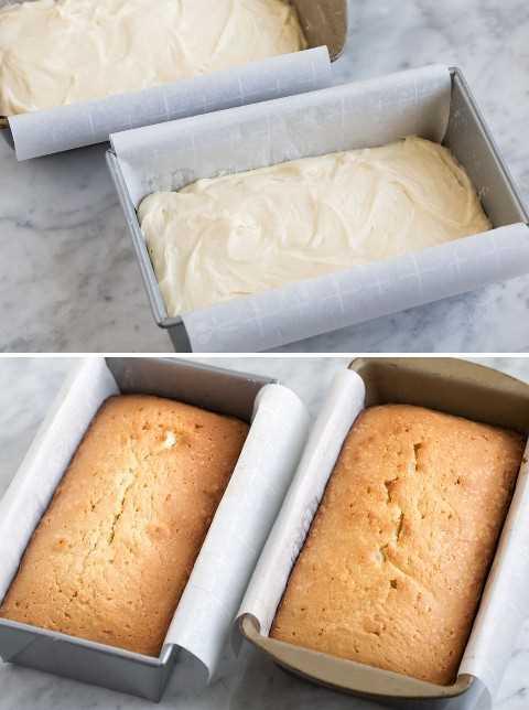 Libra la masa del pastel en dos moldes forrados de papel pergamino antes de hornear y luego se muestra después de hornear.