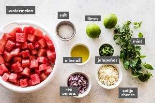 Ingredientes de la receta de ensalada de sandía
