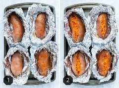 Dos imágenes que muestran cómo hornear batatas en el horno envueltas en papel de aluminio.