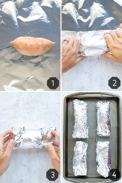 Una batata se envuelve en papel de aluminio y luego se coloca en una bandeja para hornear para cocinar en el horno.