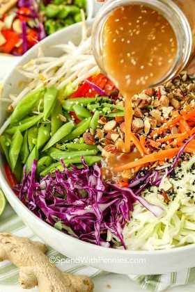 Aderezo de ensalada picada asiática se vierte sobre el recipiente lleno de ingredientes.
