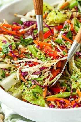 Ingredientes asiáticos de ensalada picada se combinan con cucharas de ensalada.