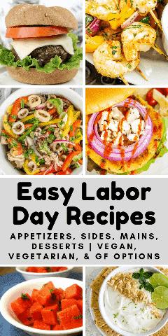 collage de recetas fáciles para el día del trabajo