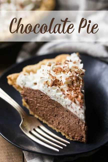 """Ciérrese encima de la imagen de una rebanada de pastel de chocolate en un plato oscuro con un tenedor plateado, y una superposición de texto encima de """"Pastel de chocolate""""."""
