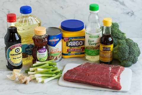 Ingredientes para carne e brócolis.
