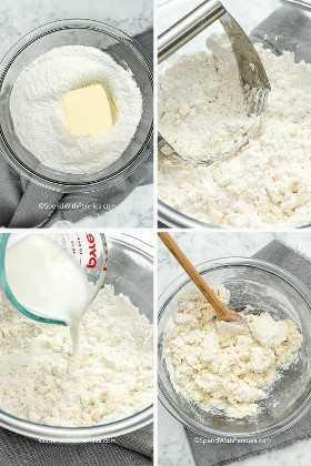 Cuatro imágenes que muestran la masa de galletas que se está preparando.