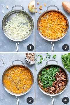 Cuatro imágenes que muestran cómo hacer una receta de tazón de quinua con batatas, salchichas, col rizada y salvia.