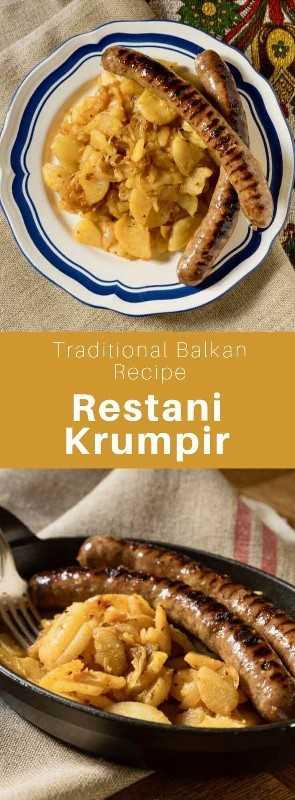 Restani krumpir es un plato tradicional croata hecho de croquetas de patata que se sirve con salchichas para el desayuno. #CroaciaReceta #CroaciaCocina #BalkansCocina # BalcanesRecipe # CuisineWorldWide # 196flavors
