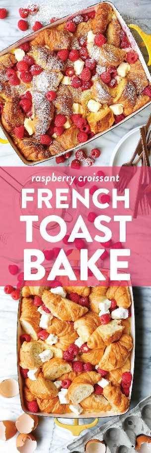 Croissant de frambuesa y tostadas francesas: ¡la cacerola de tostadas francesa más fácil durante la noche! Prepara la noche anterior y hornea por la mañana. ¡Demasiado fácil y tan impresionante!