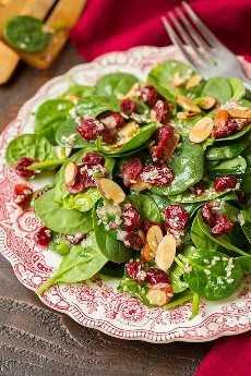 Ensalada de espinacas en un plato rojo y blanco vintage en capas con arándanos secos, almendras en rodajas y un aderezo de semillas de sésamo.