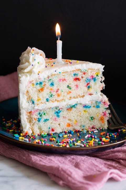 Rebanada de pastel de cumpleaños con puntos multicolores en el pastel y cubierto con glaseado de crema de mantequilla y un cumpleaños. vela.