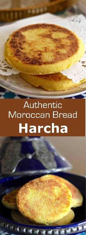 Harcha (حرشة) es un pan marroquí que toma la forma de una galette y se prepara con sémola y mantequilla o aceite de oliva. # Marruecos # Marruecos # 196 sabores