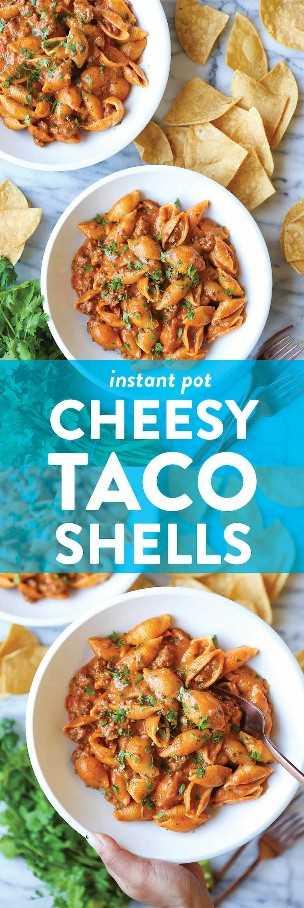 Instant Pot Cheesy Taco Shells - ¡UNA CENA DE POTE! Tan cremoso, cursi y lleno de sabores de tacos con carne molida. ¡Rápido, simple + bomba para toda la familia!