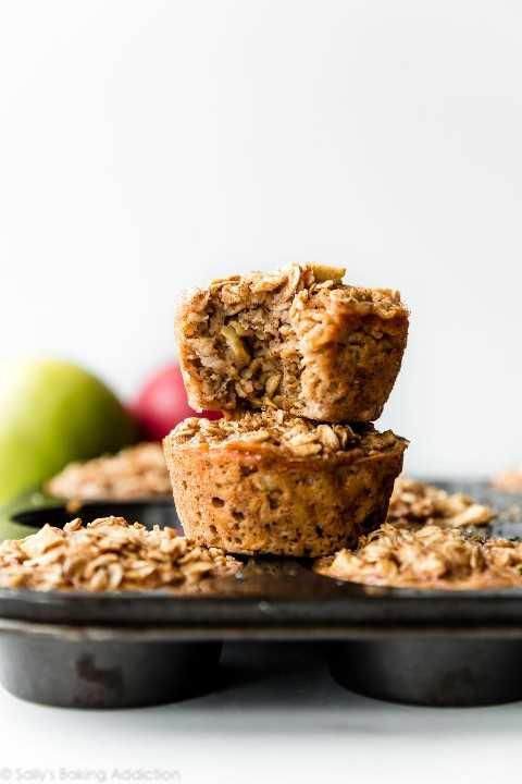 muffins de avena al horno con canela y manzana