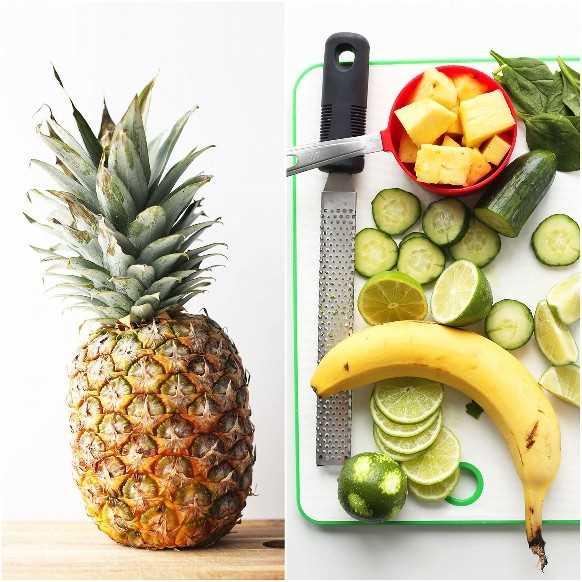 Plátano, piña, pepino, lima para hacer un batido cremoso de pepino vegano saludable