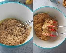 hacer masa de pan de plátano en un tazón blanco