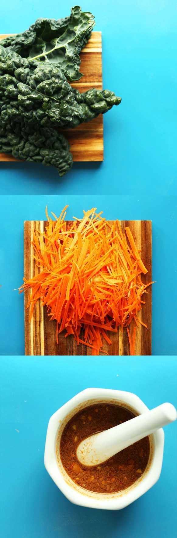 Fotos de col rizada, zanahorias ralladas y aderezo para nuestra receta Easy Thai Carrot Salad
