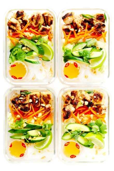 Bun Meal Prep (cuencos de pollo con fideos vietnamitas)