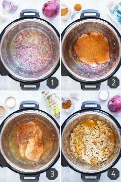 Quatro imagens mostrando como fazer Instant Pot Crumble Chicken com salsa verde.