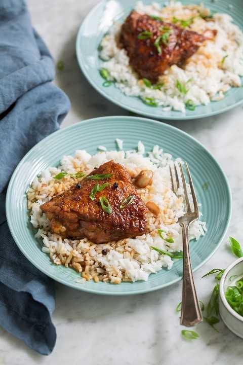 Duas porções de marinada de frango peru em pratos de arroz branco.