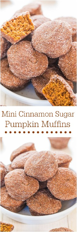 Mini panecillos de calabaza con azúcar y canela: pequeños panecillos suaves que contienen un gran golpe de sabor a calabaza. ¡La mini comida sabe mejor! ¡Mmm!