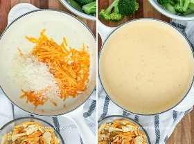 Salsa de queso casera para hacer cazuela de brócoli