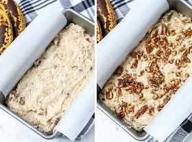 Pan de nuez de plátano espolvoreado con nueces y preparado en una sartén forrada con papel pergamino.