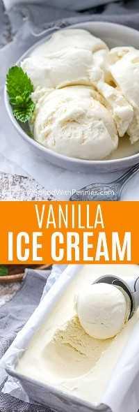 Imagen superior: una porción de helado de vainilla. Imagen inferior: helado de vainilla sacado de una bandeja para hornear.