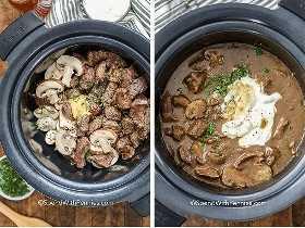 Carne dorada y champiñones en una olla de barro y mezclando la salsa para el stroganoff de carne con crema agria en una olla de cocción lenta