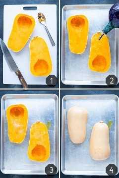 Cuatro imágenes que muestran cómo asar una calabaza entera en una sartén.