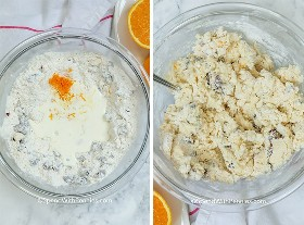 Dos imágenes. Primero se agregan los ingredientes húmedos a un pozo en los ingredientes secos. El segundo muestra la consistencia de la masa una vez mezclada.