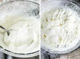 Dos imágenes que muestran ingredientes de crema batida en un recipiente antes y después de ser batida.