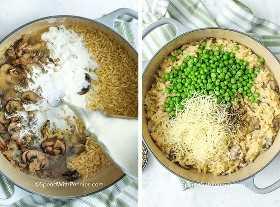 Primera imagen: ingredientes de hongo orzo en una olla. La segunda imagen: agregar los guisantes y el queso para hacer que el hongo orzo sea cremoso y cursi.
