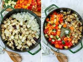 Dos imágenes que muestran los ingredientes de ratatouille que se cocinan en etapas.