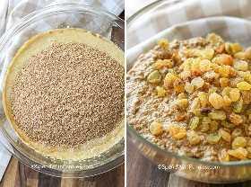 Dos imágenes que muestran los pasos para preparar la masa de muffin de salvado de pasas.