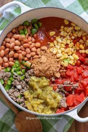 Ingredientes para a melhor receita de sopa de taco em uma panela.